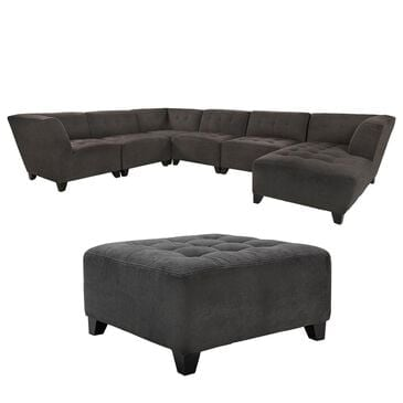Moda Belaire 6-Piece Modular Sectional and Ottoman in Caprice Granite, , large