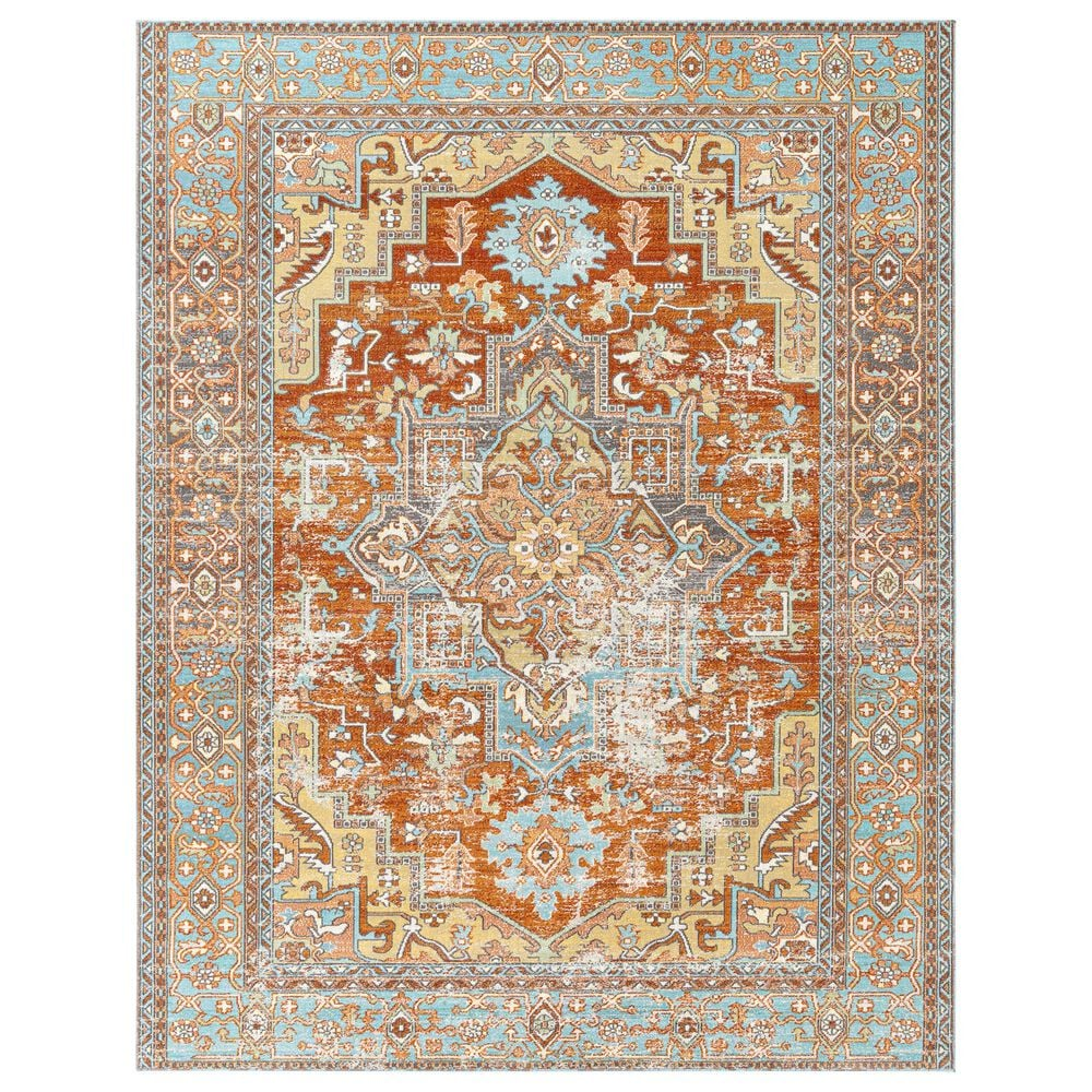 "Surya Bodrum BDM-2312 8'10"" x 12' Ivory, Orange, Saffron, Gray, Camel and Blue Area Rug, , large"