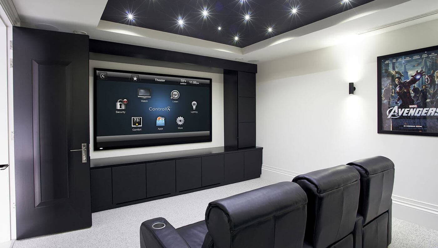 Home theater with large screen and theater seating