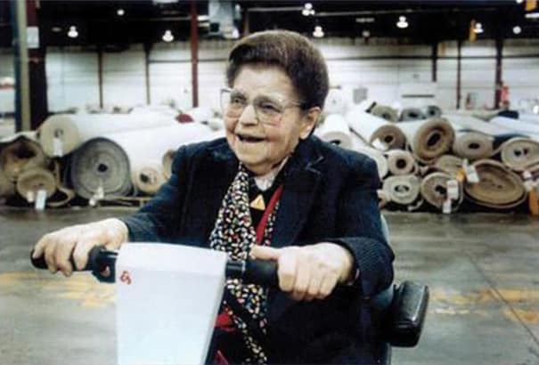 Rose Blumkin on her scooter in the NFM warehouse