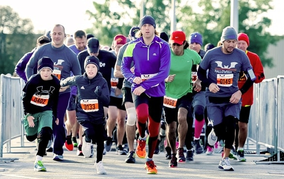 Runners taking a part in the NFM5K Halloween Race