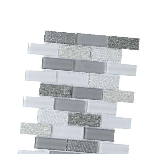 Pattern of glass and grey tones in a sheet tile