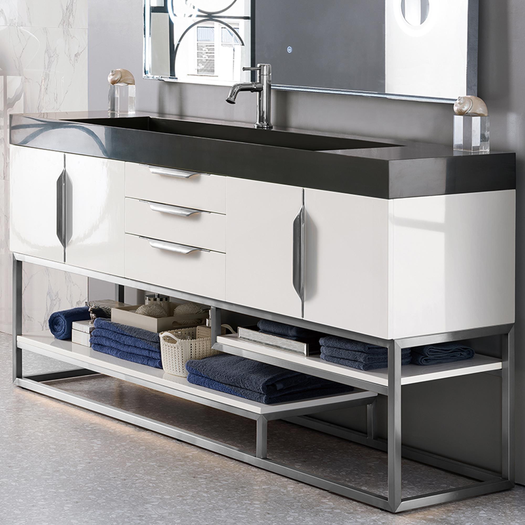 James Martin Columbia 72 Single Bathroom Vanity Cabinet In Glossy White And Brushed Nickel Nebraska Furniture Mart