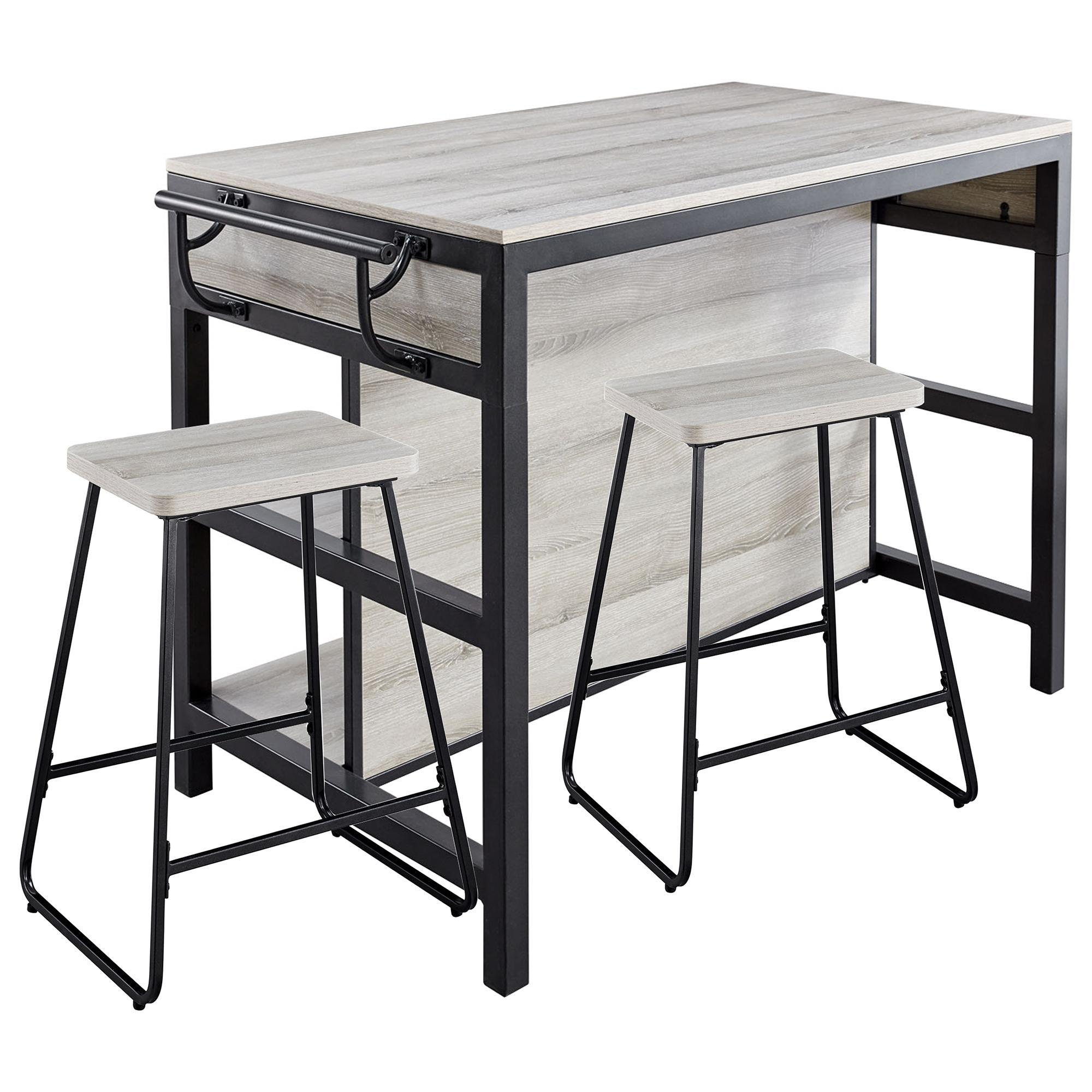 Steve Silver Carson Kitchen Island With 2 Stools In Driftwood And Black Nebraska Furniture Mart